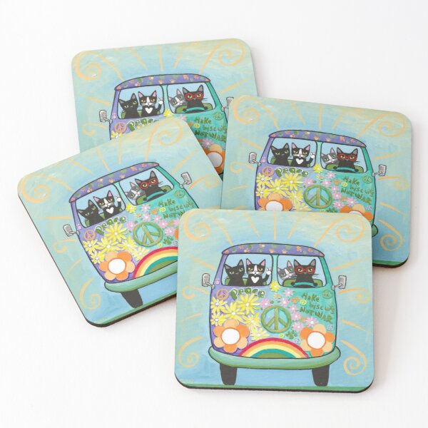 Peace and Love Hippie Road Trip Cats Coasters (Set of 4)