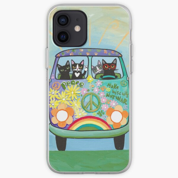 Peace and Love Hippie Road Trip Cats iPhone Soft Case