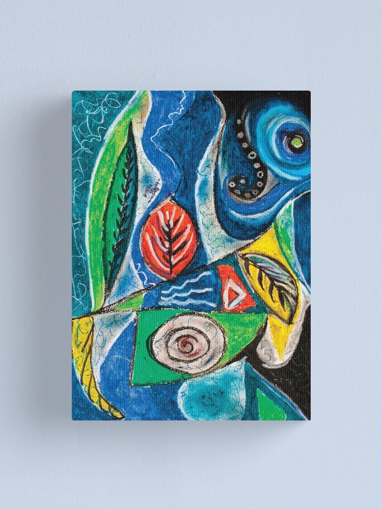 Alternate view of Abstract Leaf Shapes on Wavy Background Canvas Print