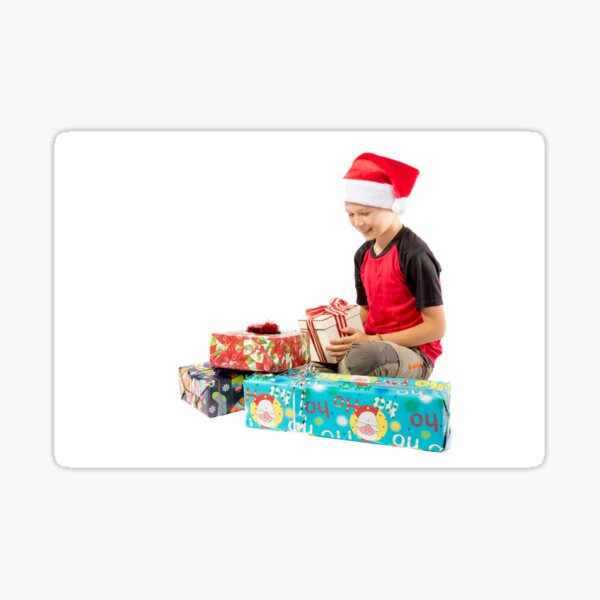 Pre-teen boy with christmas gifts Sticker
