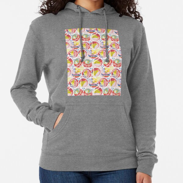 Pink coral yellow blue abstract geometrical pattern Lightweight Hoodie