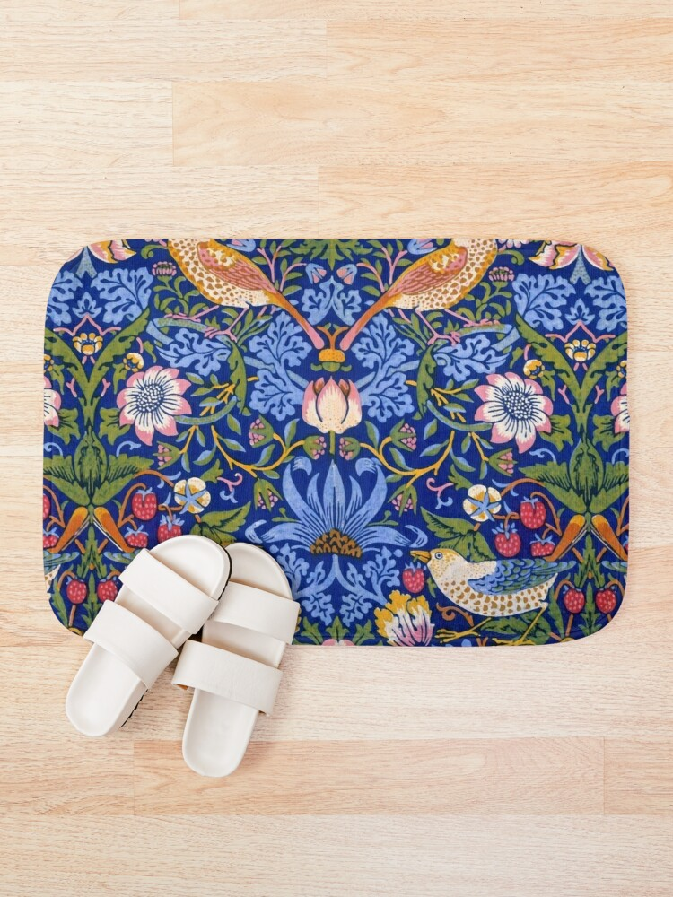 "Alternate view of William Morris ""The Strawberry Thief"" 1. Bath Mat"