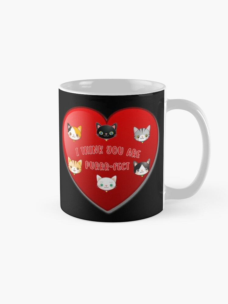 Alternate view of St Valentine Day Purr-fect Heart Alley Cat Pet Pun. Mug