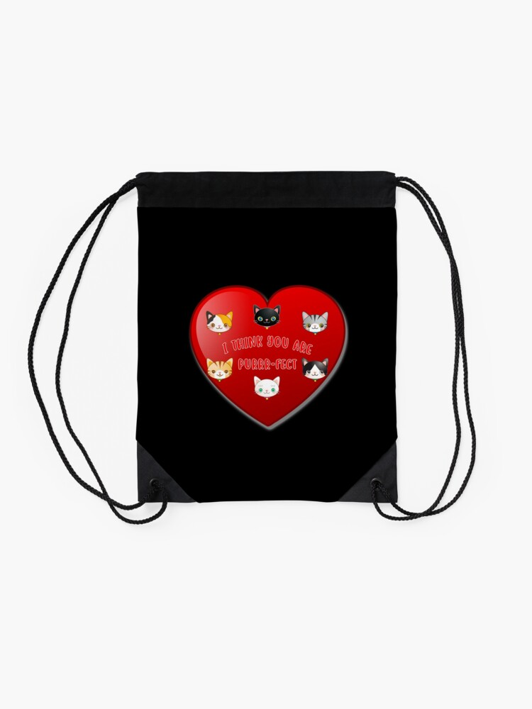 Alternate view of St Valentine Day Purr-fect Heart Alley Cat Pet Pun. Drawstring Bag