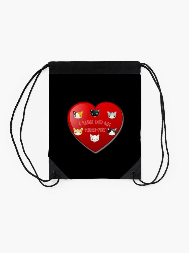 Alternate view of Kitty Cat Valentines Day Cute Kitten Lover Gift. Drawstring Bag