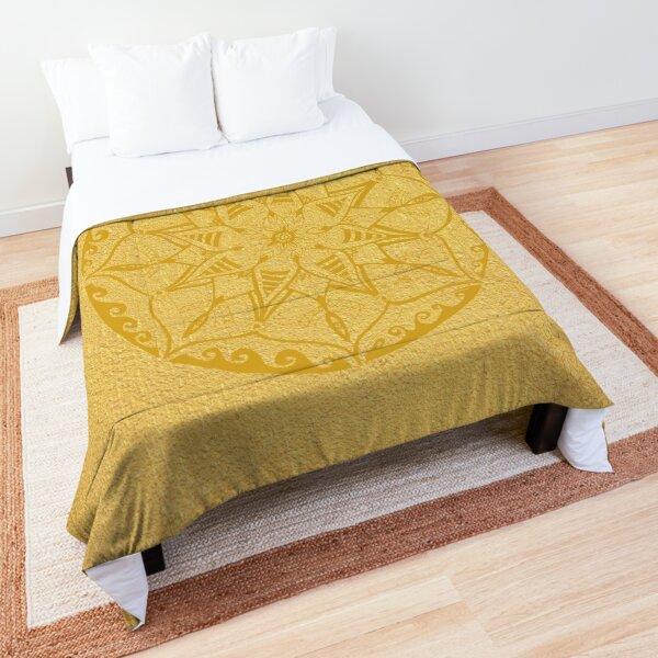 hand-painted mandala in golden yellow on golden yellow Comforter
