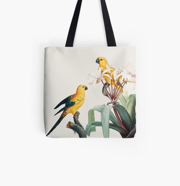 Yellow Tropical Parrots Naturalist Illustration All Over Print Tote Bag