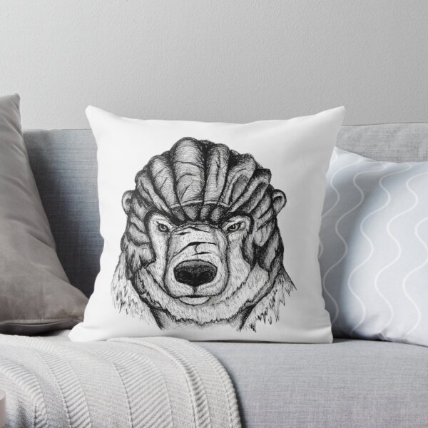 Iorek Byrnison from His Dark Materials ink drawing Throw Pillow