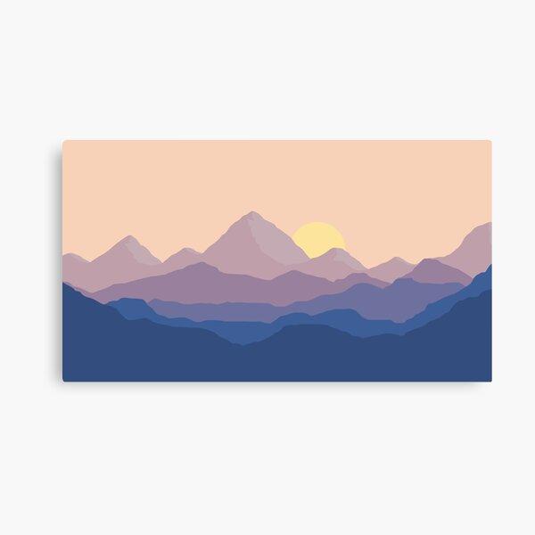 una toma diferente con unas montañas frías y frías. Lienzo