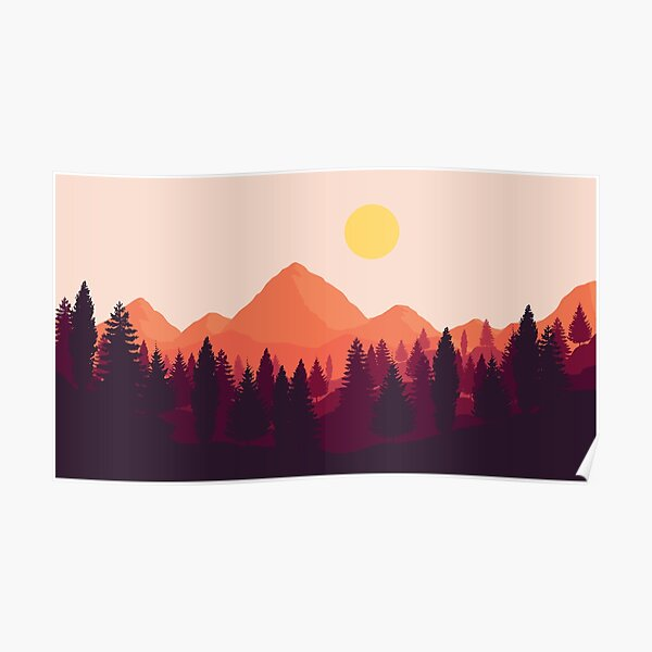 Forest Mountain Horizon Poster