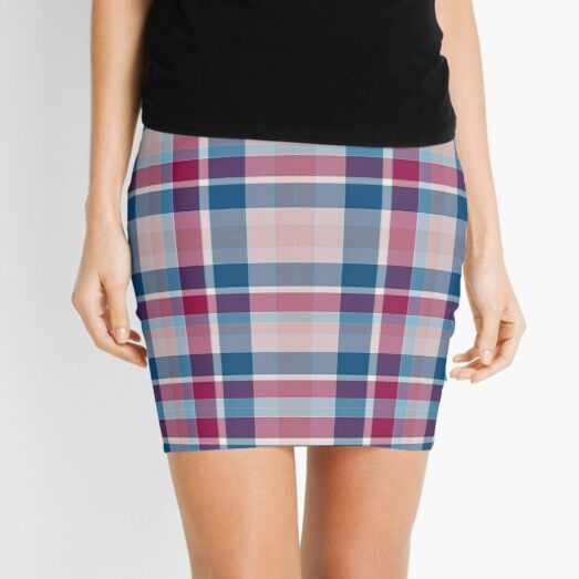 Blue Red Pink Plaid Mini Skirt