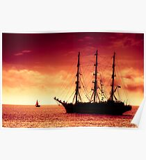 Sailing to red sunset Poster