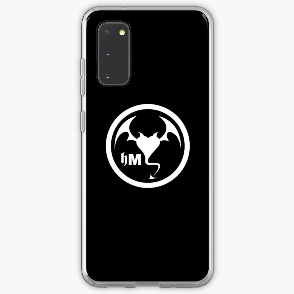 Hollywood Monsters Circle Bat Logo - WHITE PRINT Case & Skin for Samsung Galaxy
