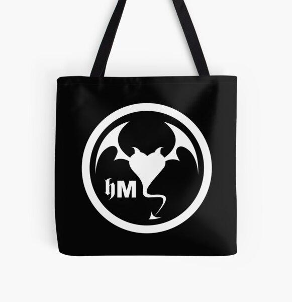 Hollywood Monsters Circle Bat Logo - WHITE PRINT All Over Print Tote Bag