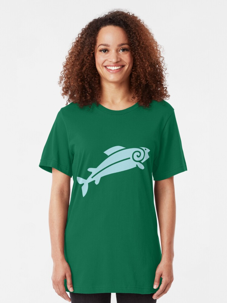 Alternate view of Happy Salmon Jumping Slim Fit T-Shirt