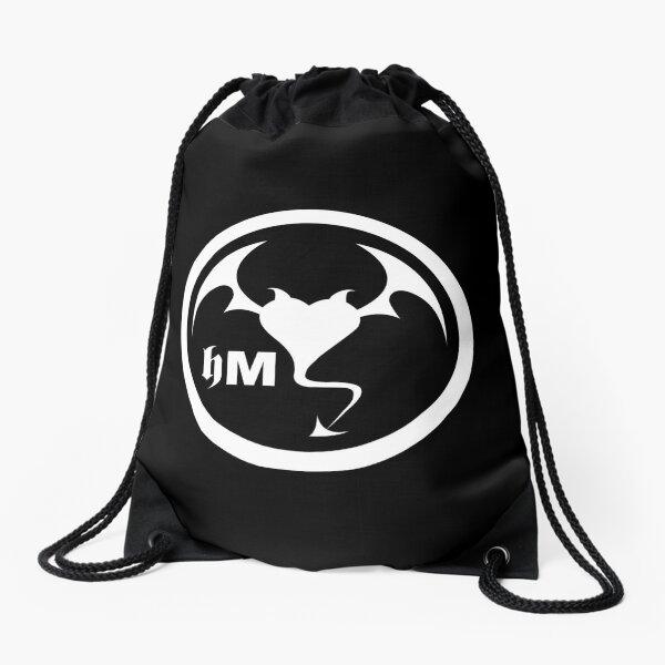 Hollywood Monsters Circle Bat Logo - WHITE PRINT Drawstring Bag