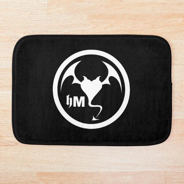 Hollywood Monsters Circle Bat Logo - WHITE PRINT Bath Mat