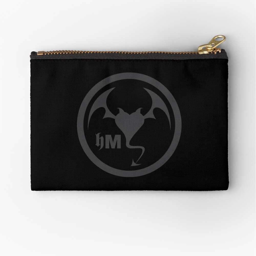 Hollywood Monsters Circle Bat Logo - DARK GREY Zipper Pouch
