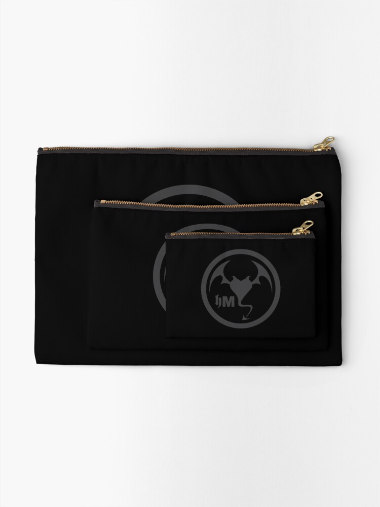 Alternate view of Hollywood Monsters Circle Bat Logo - DARK GREY Zipper Pouch