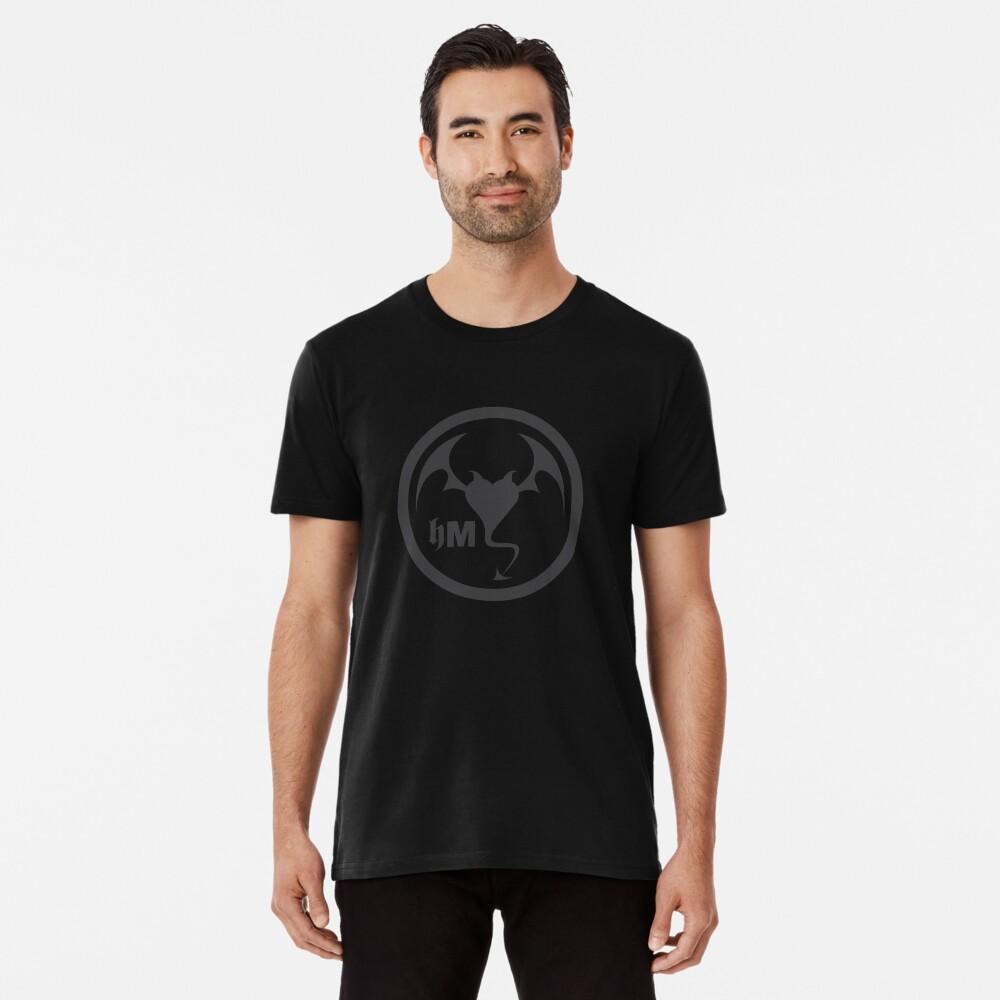 Hollywood Monsters Circle Bat Logo - DARK GREY Premium T-Shirt