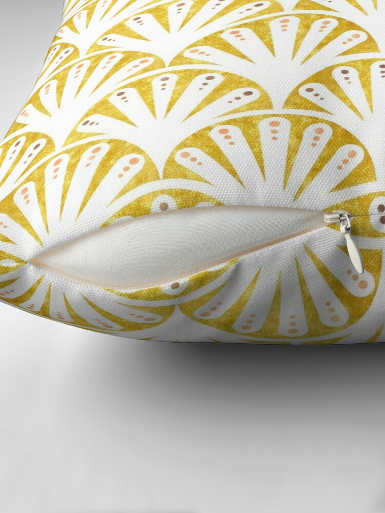 Alternate view of Art deco gold and white fan pattern Throw Pillow