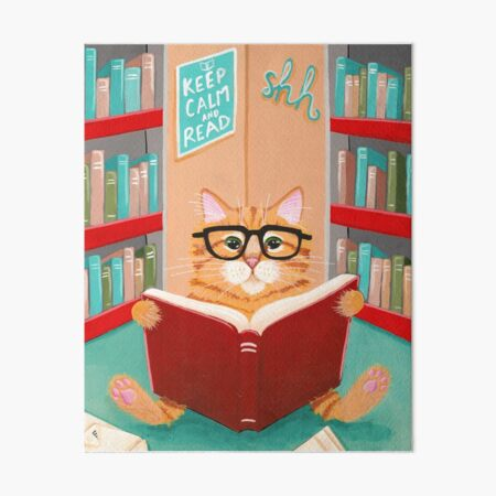 The Library Cat Art Board Print