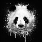 Cool Abstract Graffiti Watercolor Panda Portrait in Black & White  by badbugs