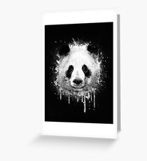 Cool Abstract Graffiti Watercolor Panda Portrait in Black & White  Greeting Card