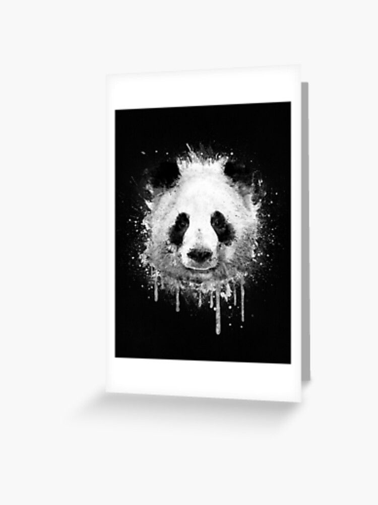 Cool Abstract Graffiti Watercolor Panda Portrait In Black White Greeting Card