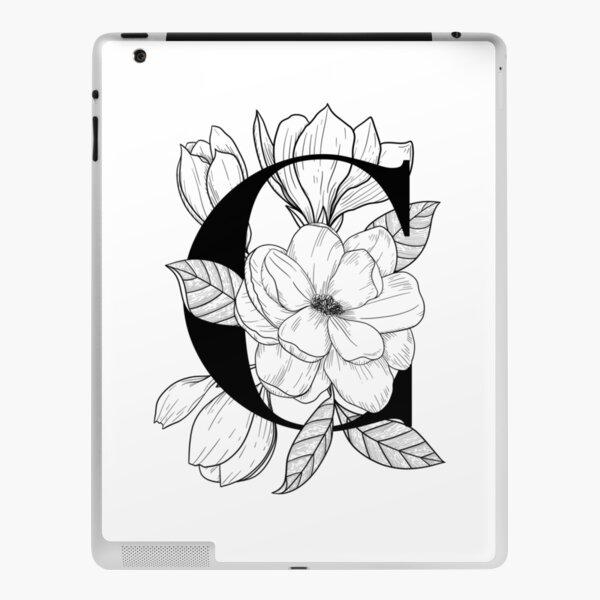 Monogram C with Magnolia Line Art iPad Skin