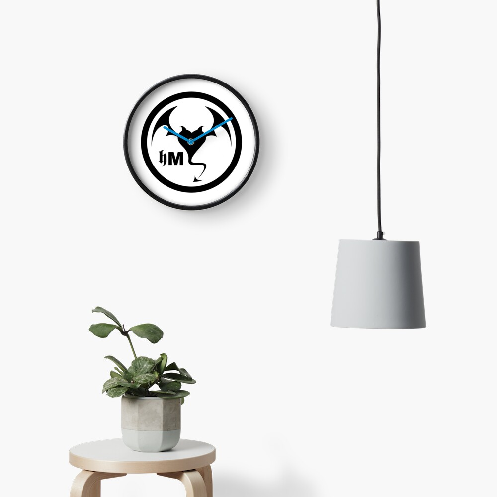 Hollywood Monsters Circle Bat Logo - BLACK PRINT Clock