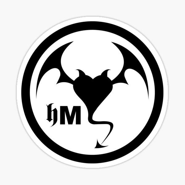 Hollywood Monsters Circle Bat Logo - BLACK PRINT Sticker