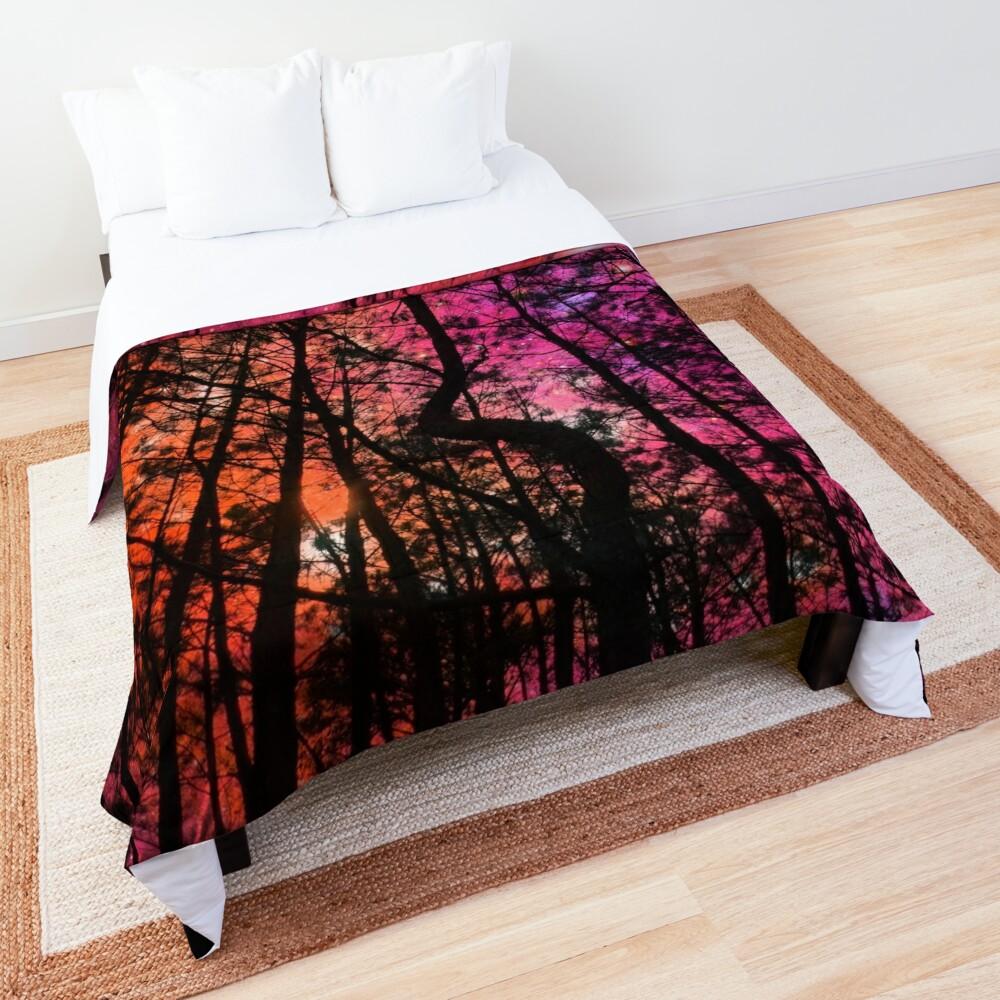 Twisted Forest Hot Pink Orange Comforter