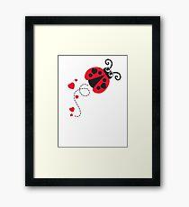 Love bug ladybug / ladybird red Framed Print