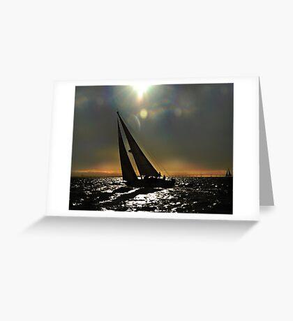 Sun Silhouette Sailing Greeting Card