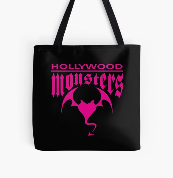 Hollywood Monsters Text Bat Logo - PINK PRINT All Over Print Tote Bag