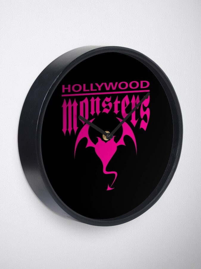 Alternate view of Hollywood Monsters Text Bat Logo - PINK PRINT Clock