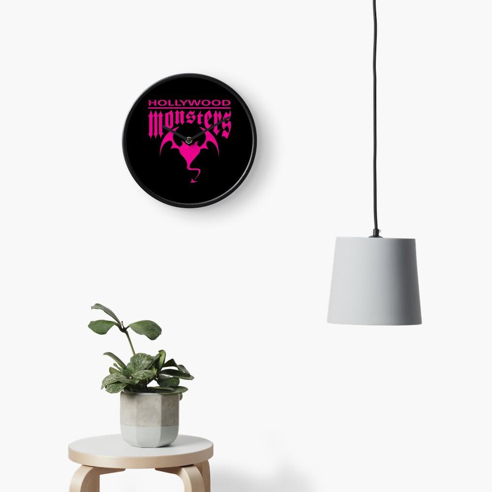 Hollywood Monsters Text Bat Logo - PINK PRINT Clock