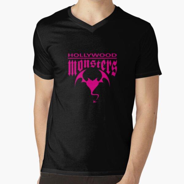 Hollywood Monsters Text Bat Logo - PINK PRINT V-Neck T-Shirt