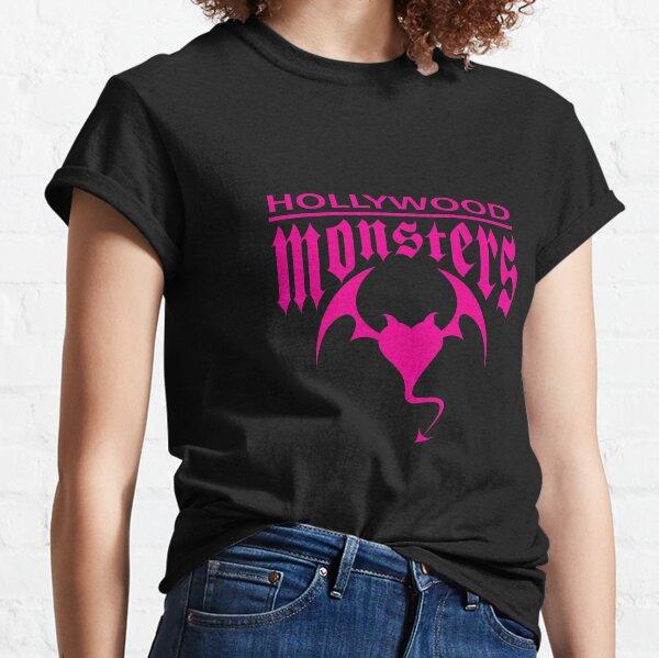 Hollywood Monsters Text Bat Logo - PINK PRINT Classic T-Shirt