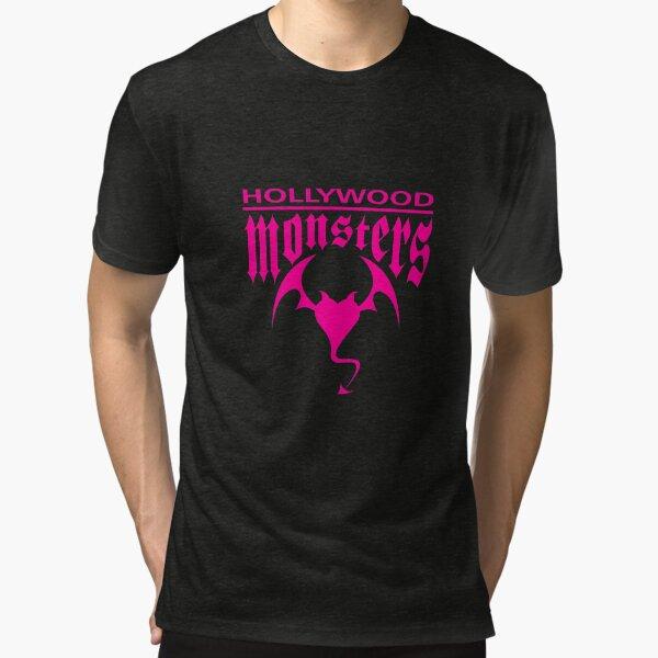 Hollywood Monsters Text Bat Logo - PINK PRINT Tri-blend T-Shirt