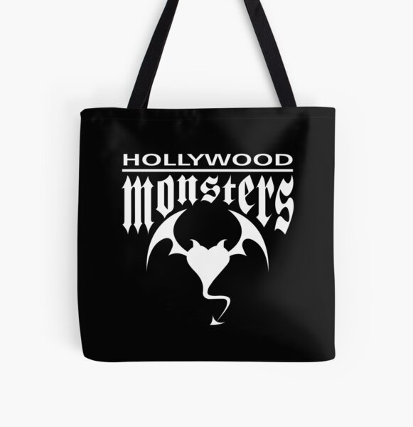 Hollywood Monsters Text Bat Logo - WHITE PRINT All Over Print Tote Bag