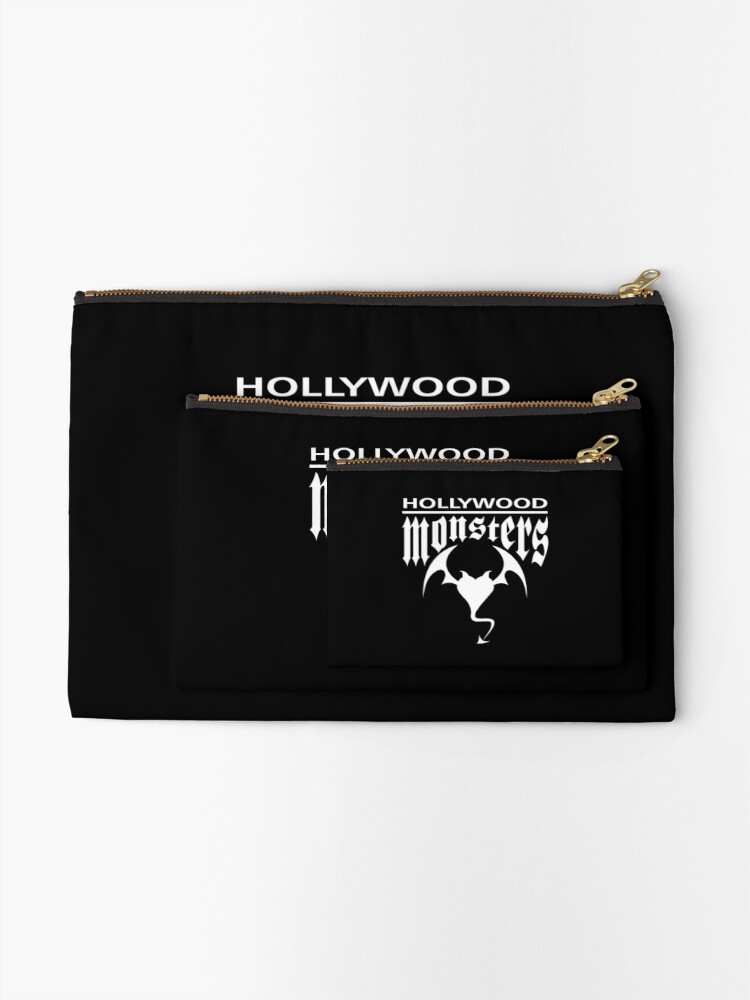 Alternate view of Hollywood Monsters Text Bat Logo - WHITE PRINT Zipper Pouch