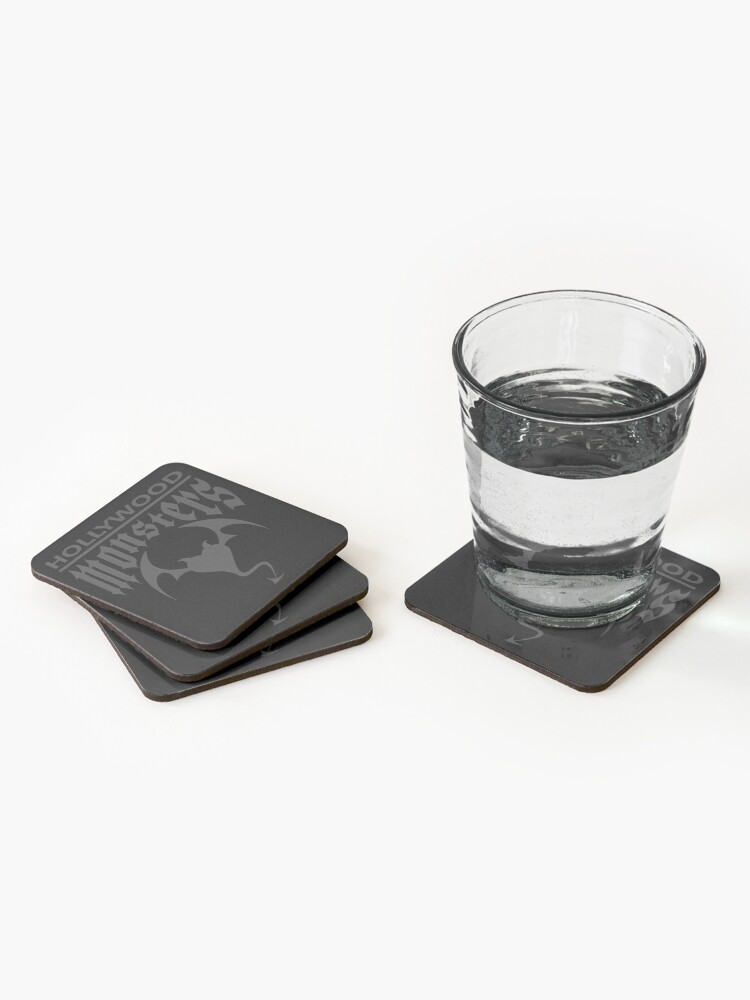 Alternate view of Hollywood Monsters Text Bat Logo - DARK GREY Coasters (Set of 4)