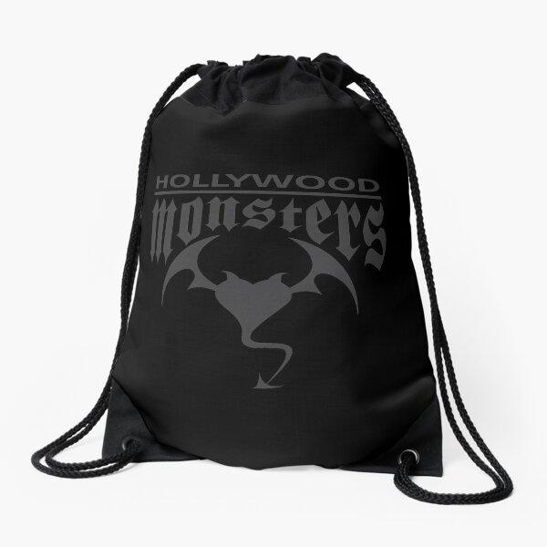 Hollywood Monsters Text Bat Logo - DARK GREY Drawstring Bag