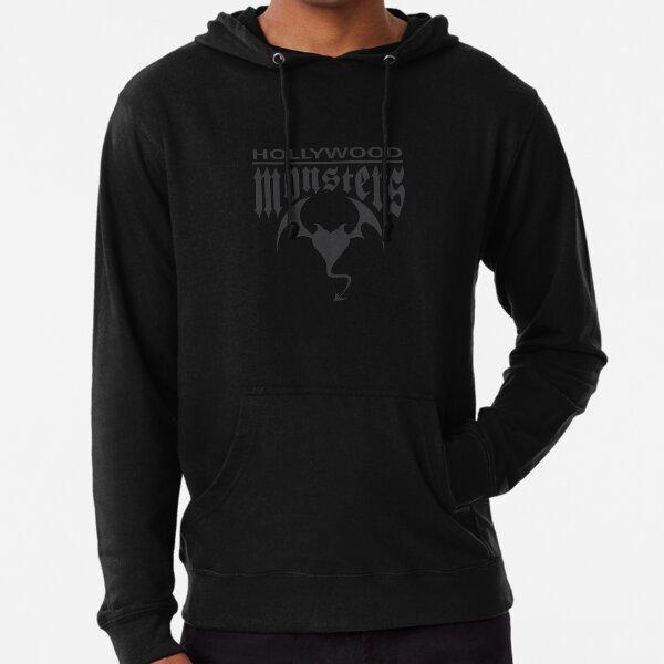 Hollywood Monsters Text Bat Logo - DARK GREY Lightweight Hoodie