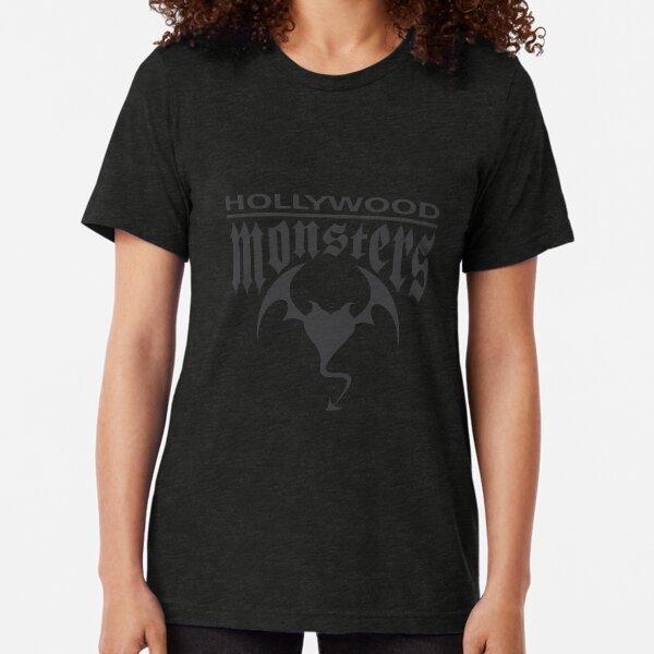 Hollywood Monsters Text Bat Logo - DARK GREY Tri-blend T-Shirt