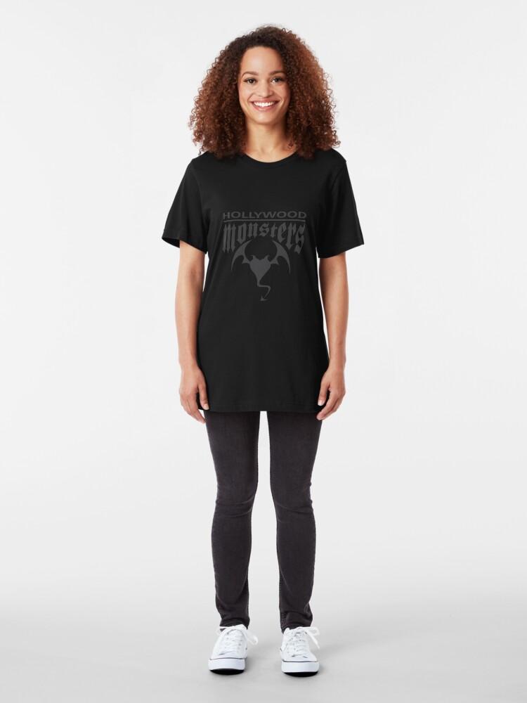 Alternate view of Hollywood Monsters Text Bat Logo - DARK GREY Slim Fit T-Shirt