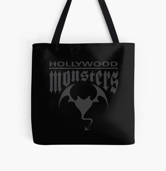 Hollywood Monsters Text Bat Logo - DARK GREY All Over Print Tote Bag