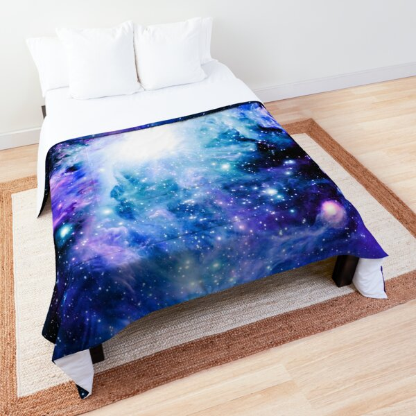 Galaxy Orion Nebula Turquoise Violet Pink Comforter